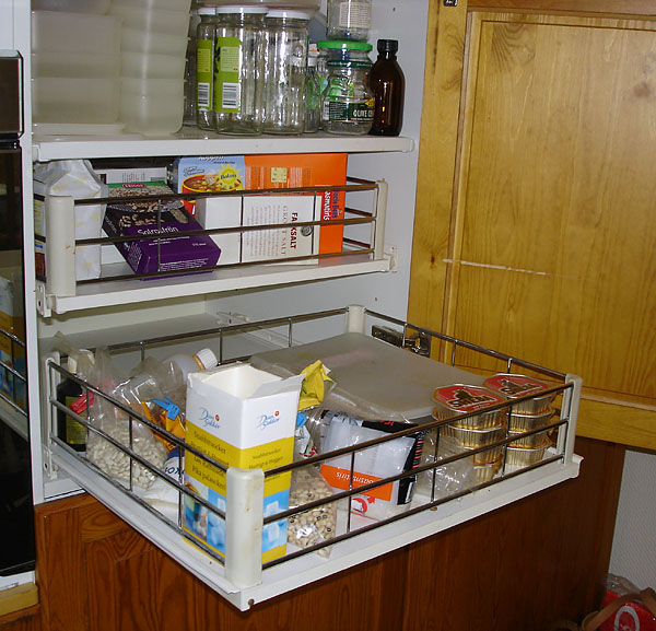Pantry with slide-out storage