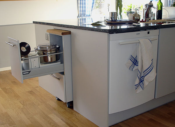 Storage unit on casters in kitchen work island