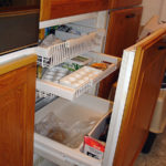 Refrigerator and freezer with pull-out doors and shelves