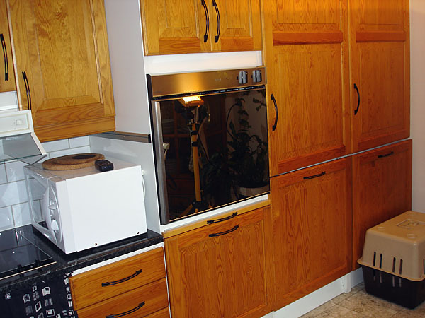 Upper cabinet with built-in oven