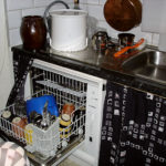 Countertop dishwasher in modified kitchen