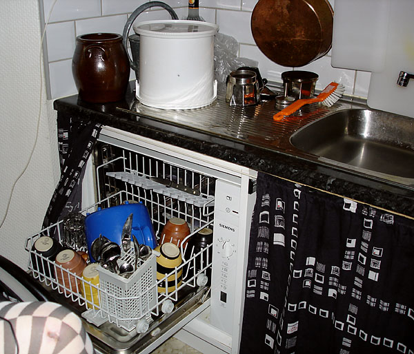 Countertop dishwasher in modified kitchen