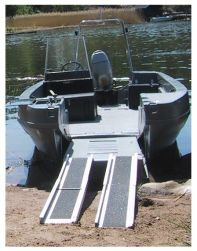 Landing craft open with portable ramps