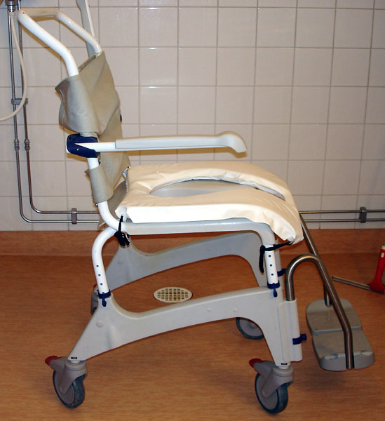 Mobile shower/toilet chair on casters