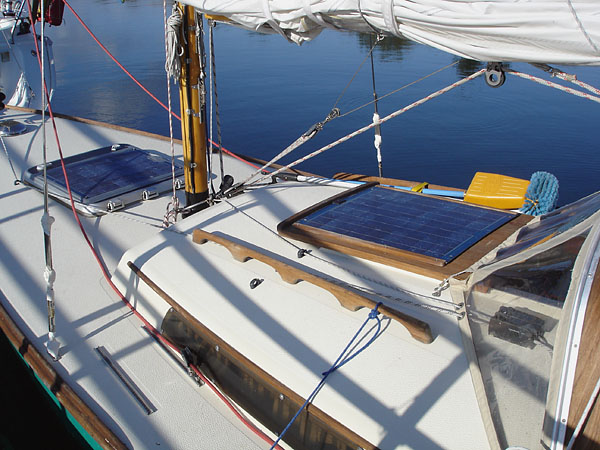 Solar cells on sailboat