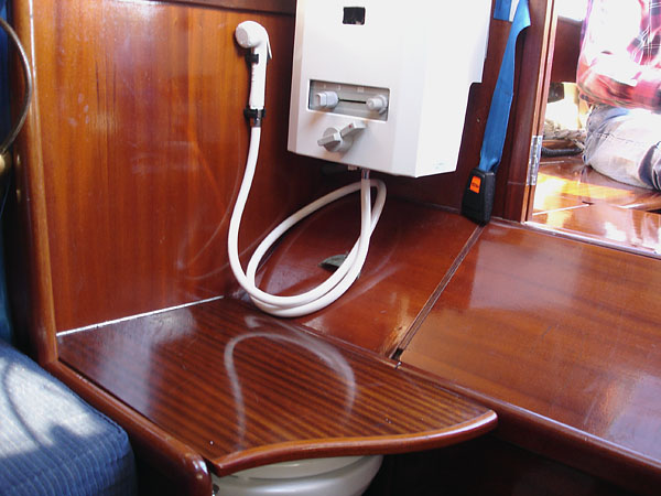 Shower/toilet on adapted sailboat