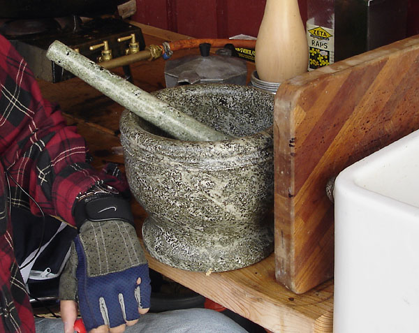 Large stone mortar and pestle