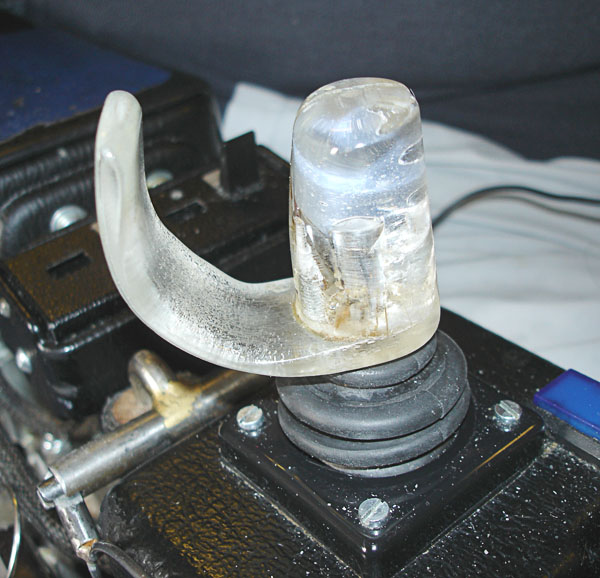 Adapted joystick for electric wheelchair