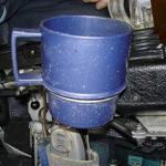 Mug and mug holder on electric wheelchair