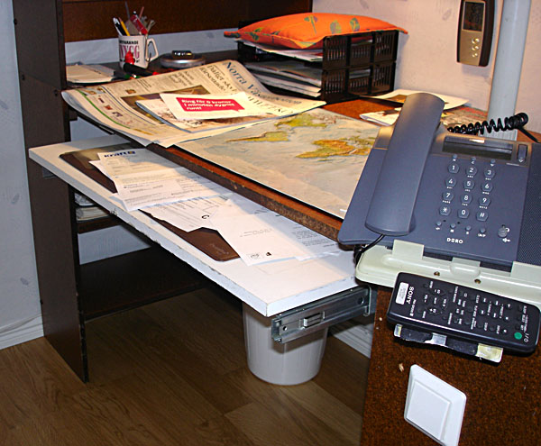 Accessible desk with pull-out board (close-up)