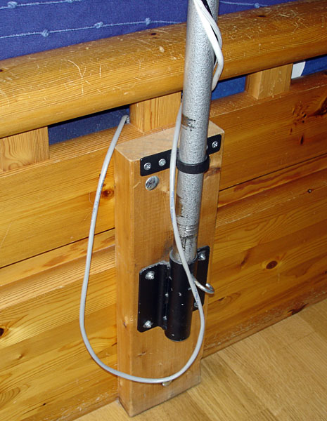 Attachment on bed frame (close-up)