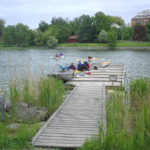 Floating dock with wooden ramp