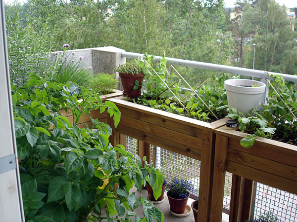 Balcony garden containers with space for knees