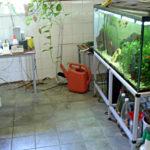 Tillgängligt badrum med akvarium