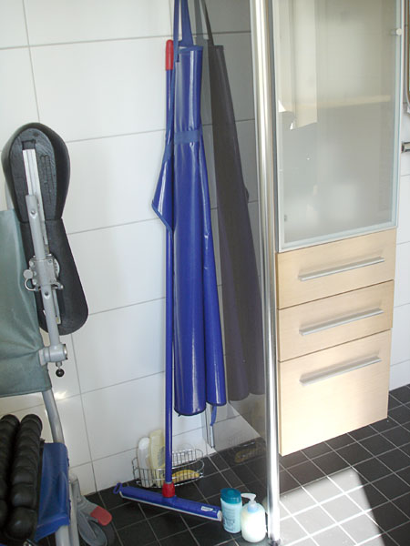 Shower and wall-mounted tall cabinet