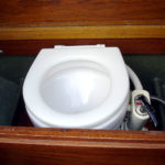 Toilet on small motorboat