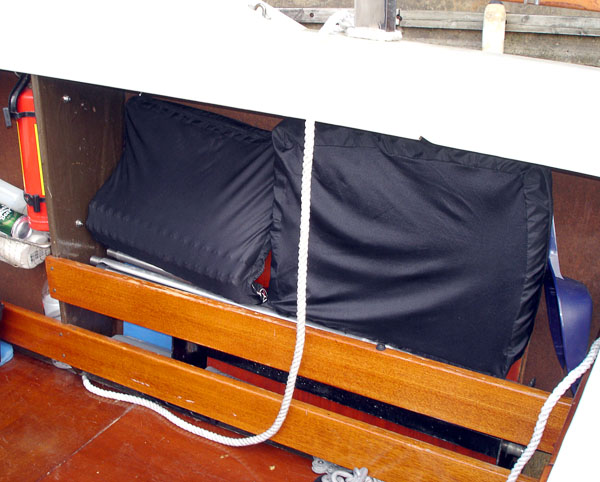 Roho cushion in the boat's storage area