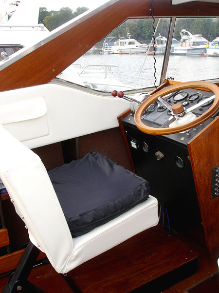 Roho cushion in motorboat