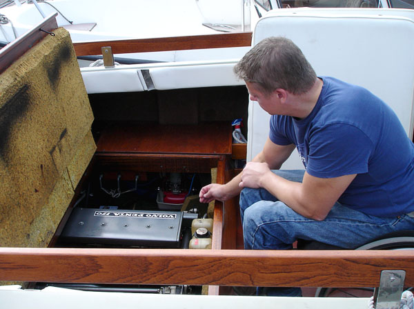 Engine compartment in motorboat