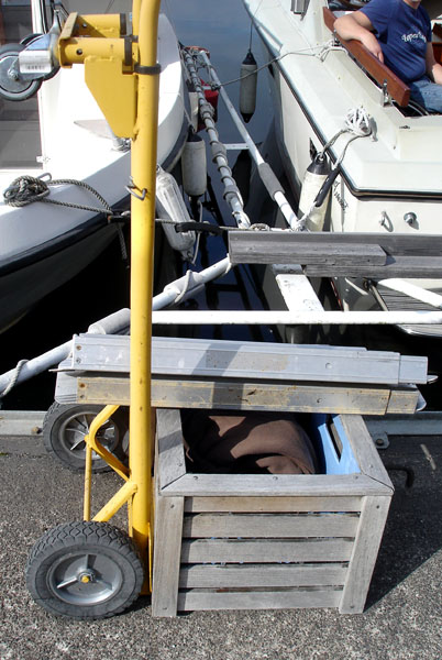 Portable ramps outside the boat
