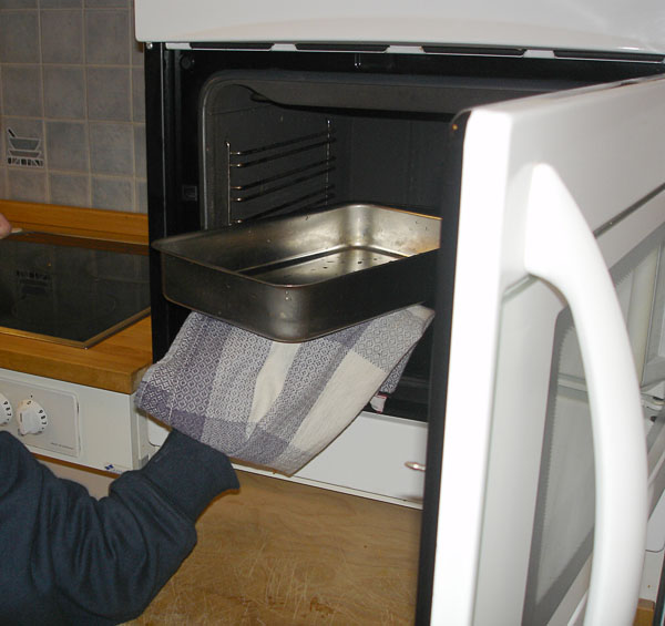 Oven in modified kitchen