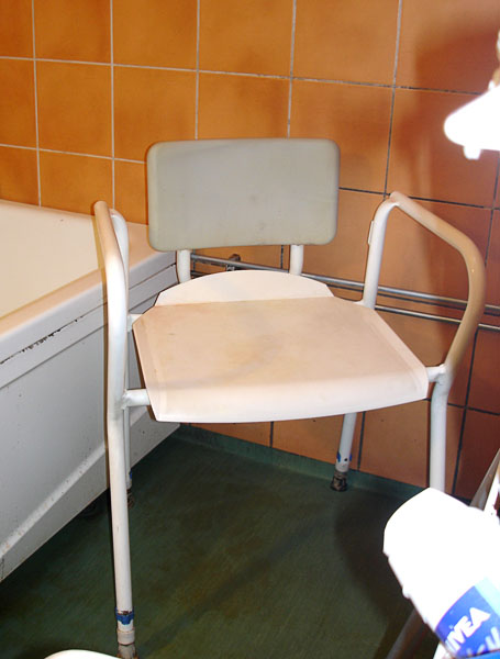 Shower chair with back and armrest