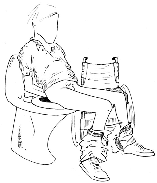 User on toilet. Illustration: Lars 'Geson' Andersson