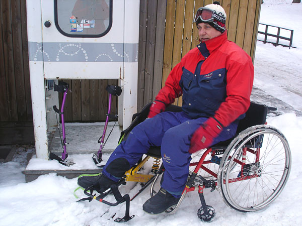 Transfer from wheelchair to Sitski