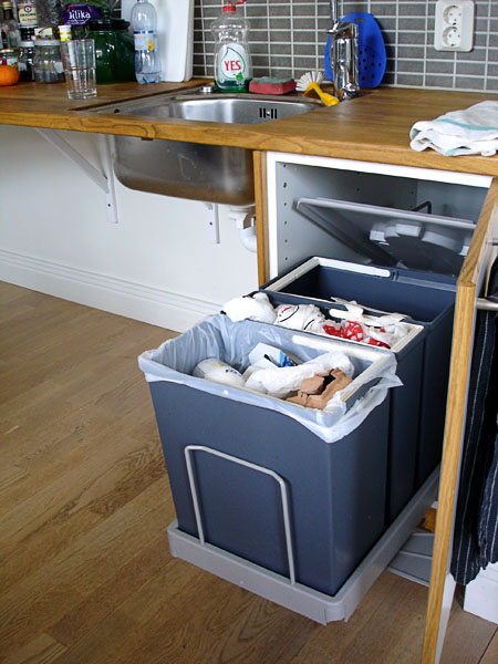 Waste sorting cabinet, open