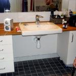 Washbasin in adapted bathroom
