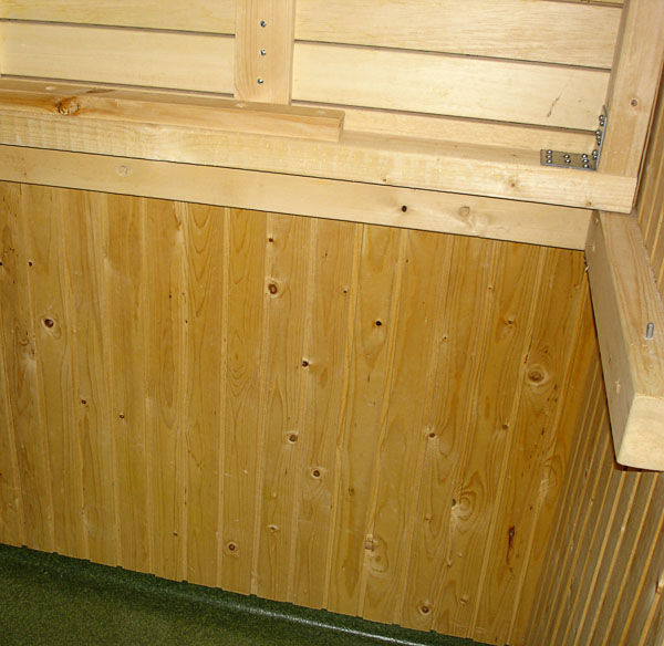 Sauna bench – up position