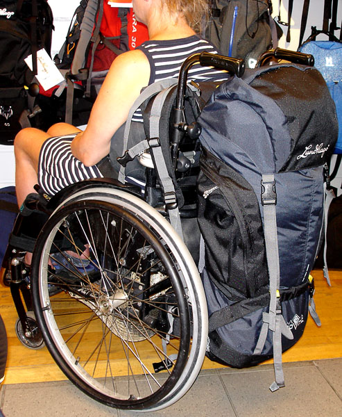 Backpack that fits well with wheelchair