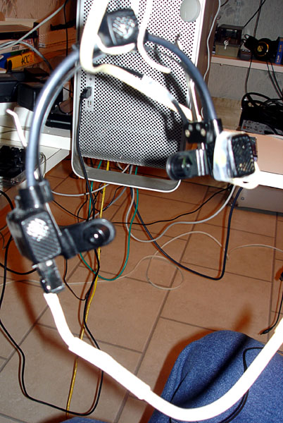 Headset with head mouse and sip/puff control (viewed from behind)