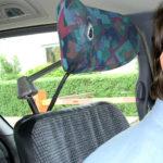 Turn signal and headlight controls in adapted minivan