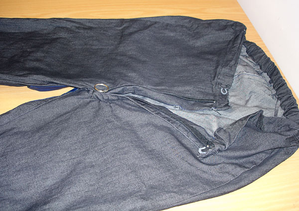 Trousers from the front with long zipper