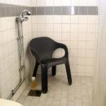 Garden chair as shower chair