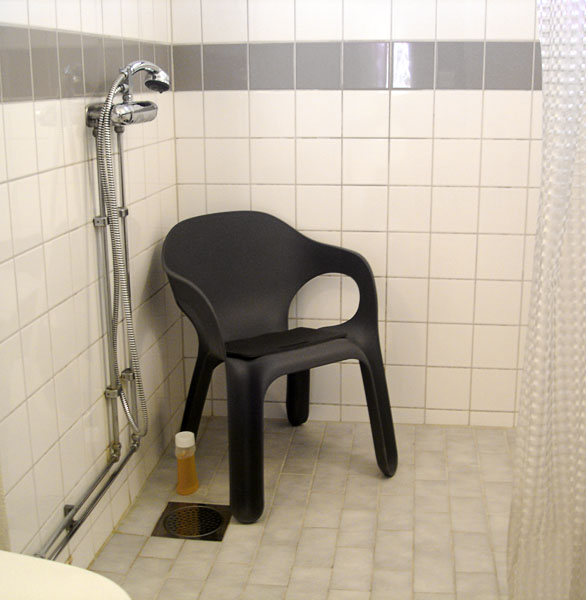 Garden chair as shower chair