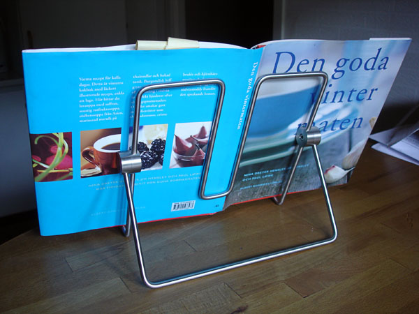 Book holder with cookbook