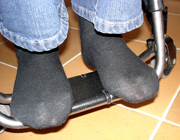 Foot rest on wheelchair