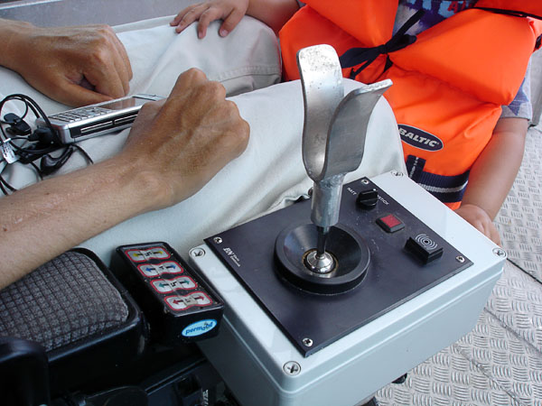 The boat's joystick box on wheelchair attachment (close-up)