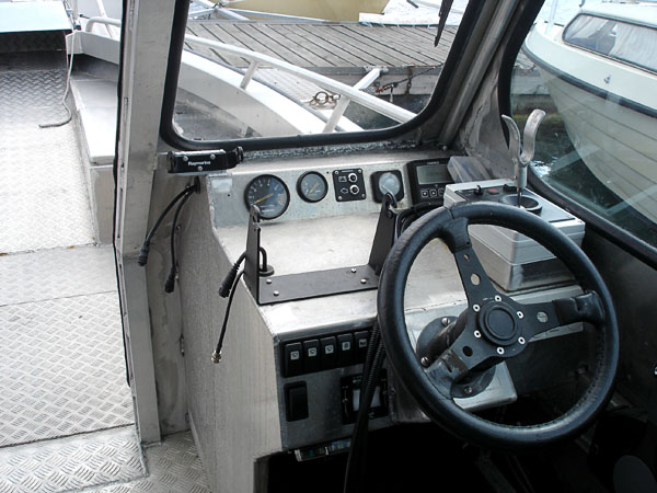 The boat's center console with joystick box