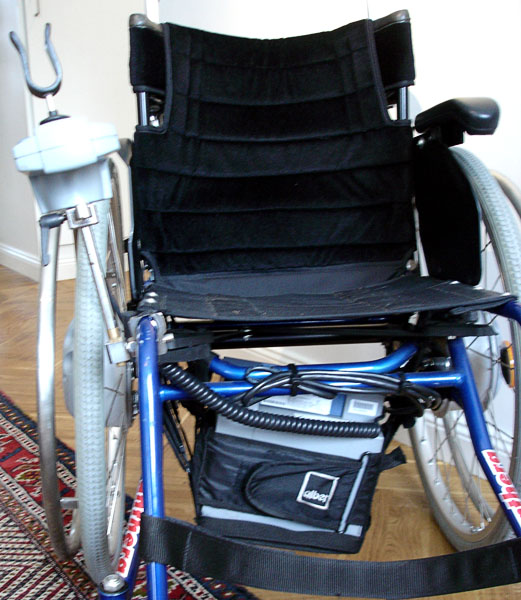 Battery pack and joystick steering on Panthera wheelchair