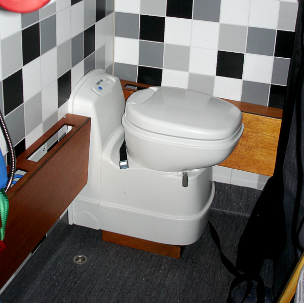 Toilet chair in normal position.