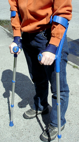 User with crutches