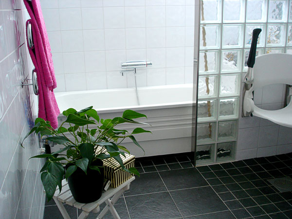Bathtub in adapted bathroom