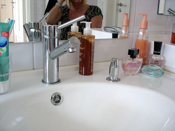 Sink with built-in soap dispenser