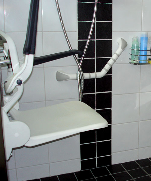 Wall-mounted grab bar next to shower chair