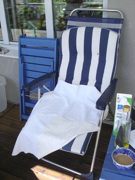 Vinyl-backed terry cloth fabric on lounge chair