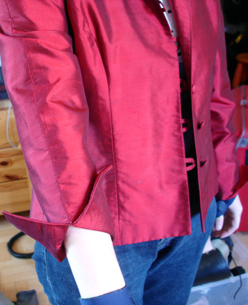 Jacket with cuffs folded back
