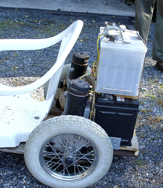 Electric motors and car batteries on go-cart